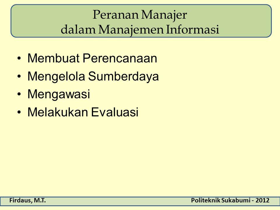 Peranan Manajer dalam Manajemen Informasi