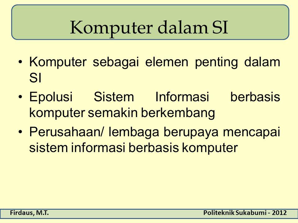Komputer dalam SI Komputer sebagai elemen penting dalam SI