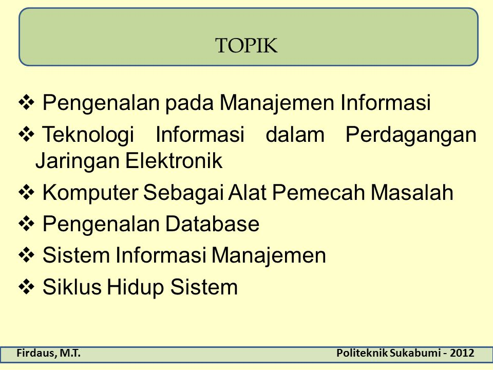 Pengenalan pada Manajemen Informasi