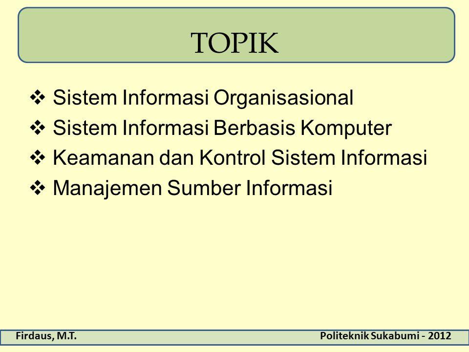 TOPIK Sistem Informasi Organisasional