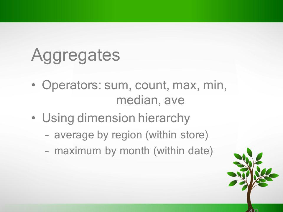 Aggregates Operators: sum, count, max, min, median, ave
