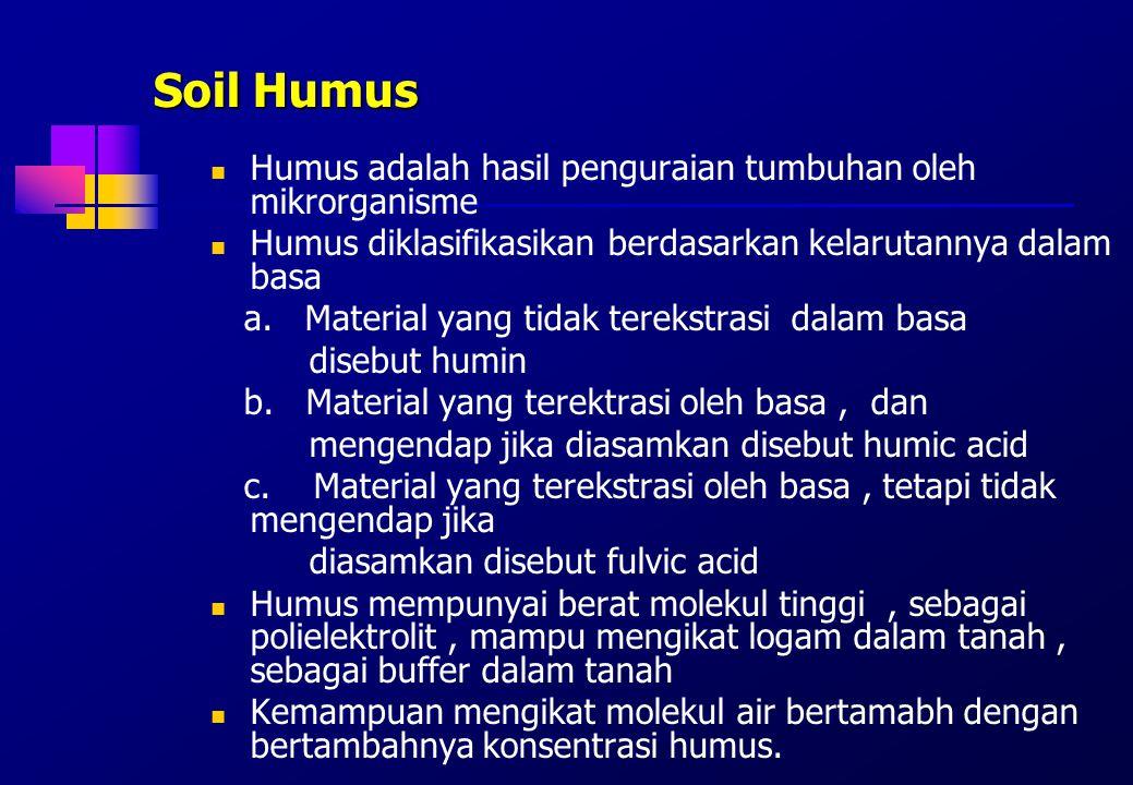 Soil Humus Humus adalah hasil penguraian tumbuhan oleh mikrorganisme