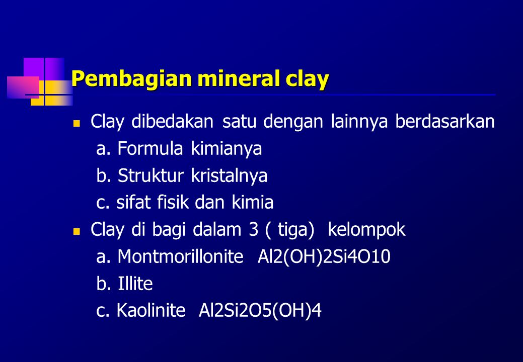 Pembagian mineral clay