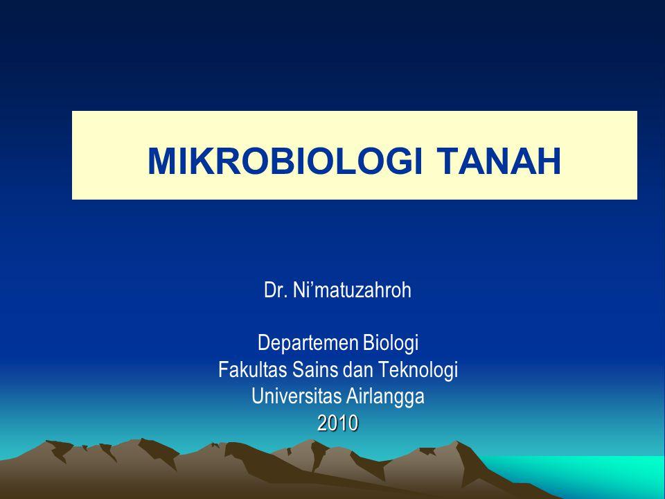 MIKROBIOLOGI TANAH Dr. Ni'matuzahroh Departemen Biologi