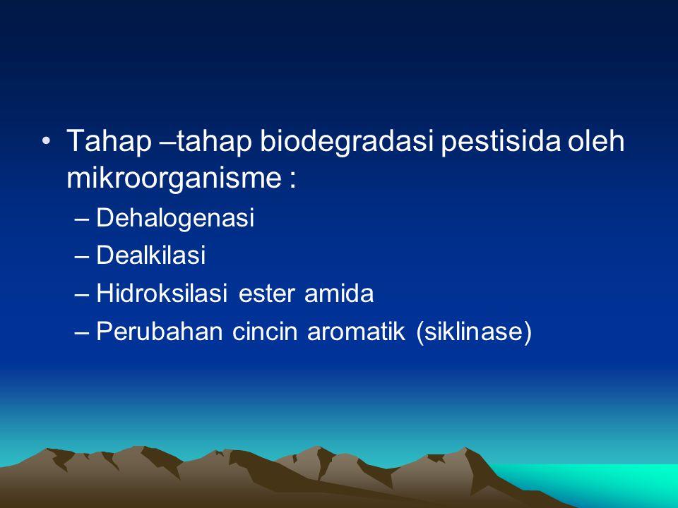 Tahap –tahap biodegradasi pestisida oleh mikroorganisme :