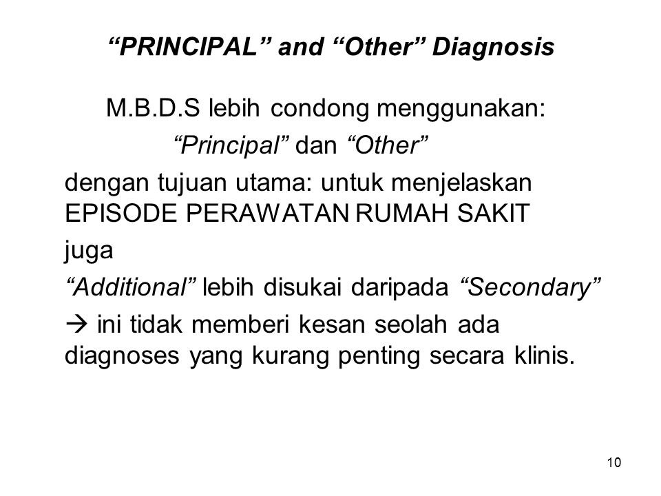 PRINCIPAL and Other Diagnosis