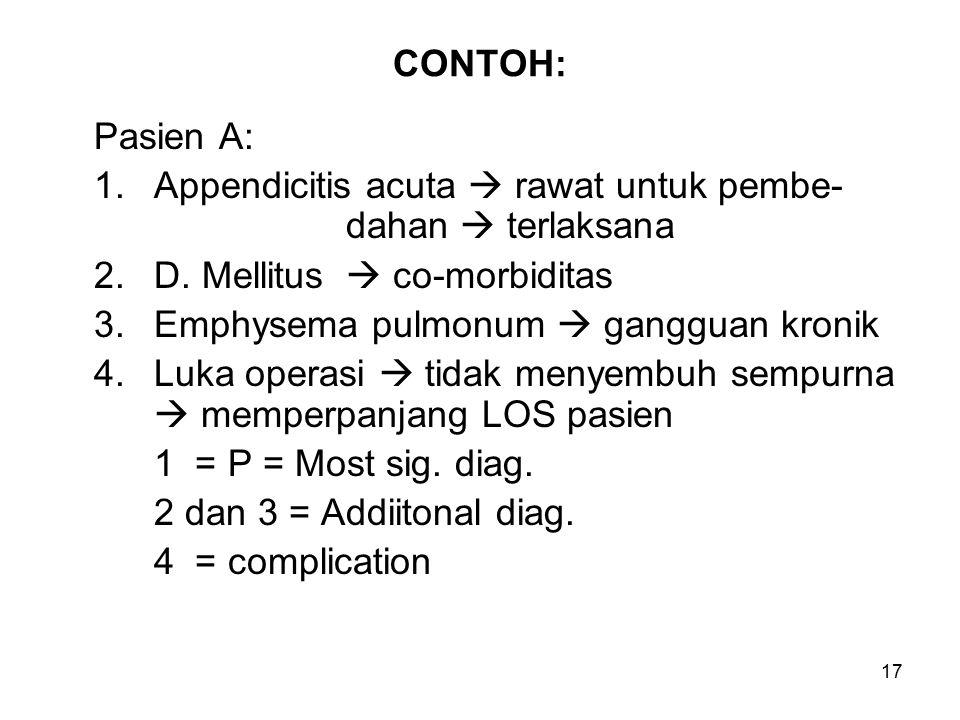 CONTOH: Pasien A: 1. Appendicitis acuta  rawat untuk pembe- dahan  terlaksana. 2. D. Mellitus  co-morbiditas.