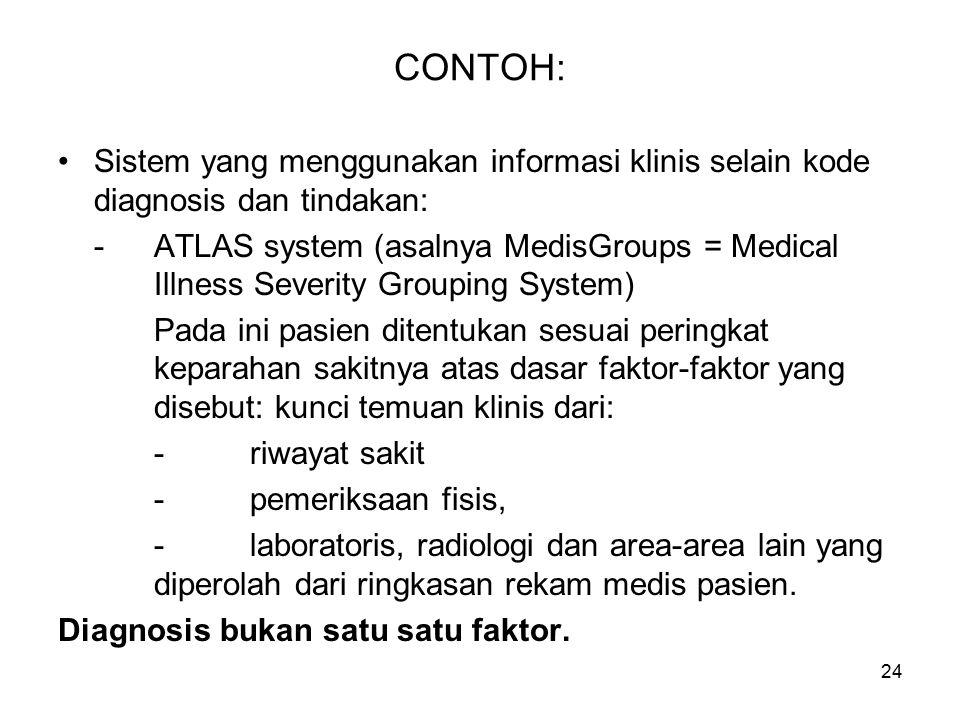 CONTOH: Sistem yang menggunakan informasi klinis selain kode diagnosis dan tindakan: