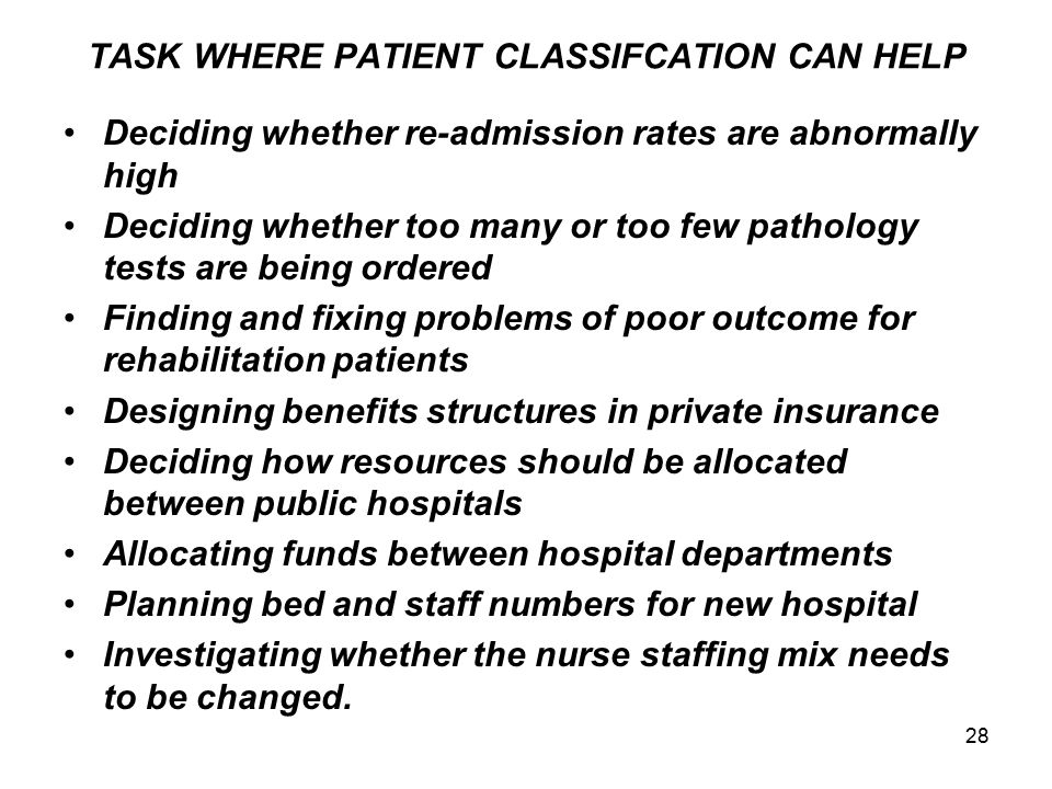TASK WHERE PATIENT CLASSIFCATION CAN HELP
