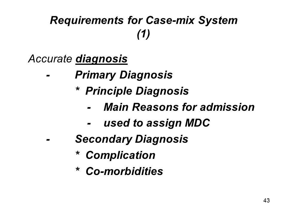 Requirements for Case-mix System (1)