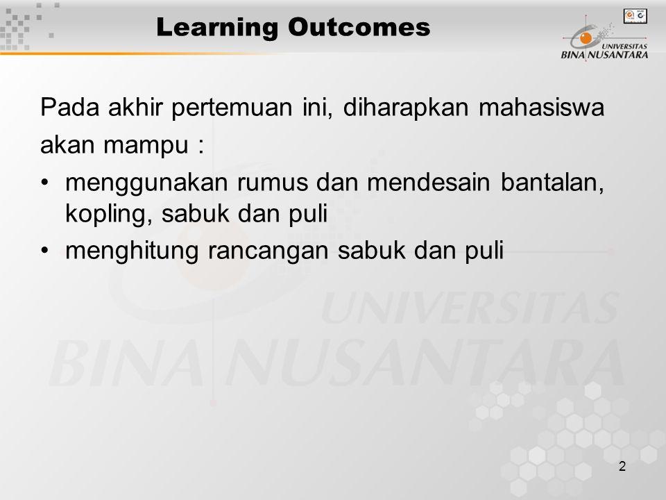 Learning Outcomes Pada akhir pertemuan ini, diharapkan mahasiswa. akan mampu : menggunakan rumus dan mendesain bantalan, kopling, sabuk dan puli.