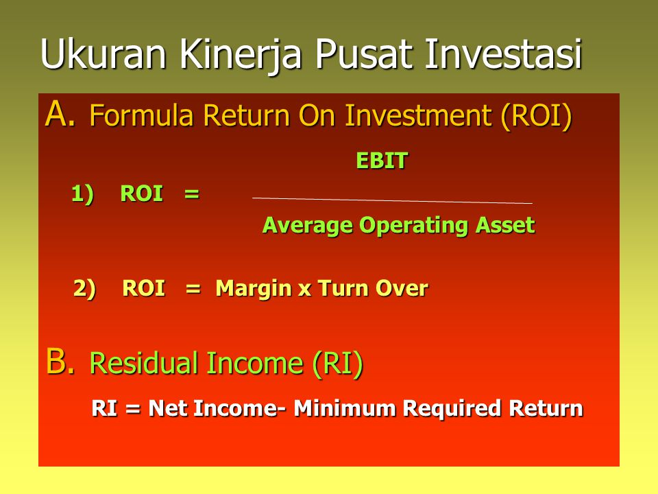 Ukuran Kinerja Pusat Investasi