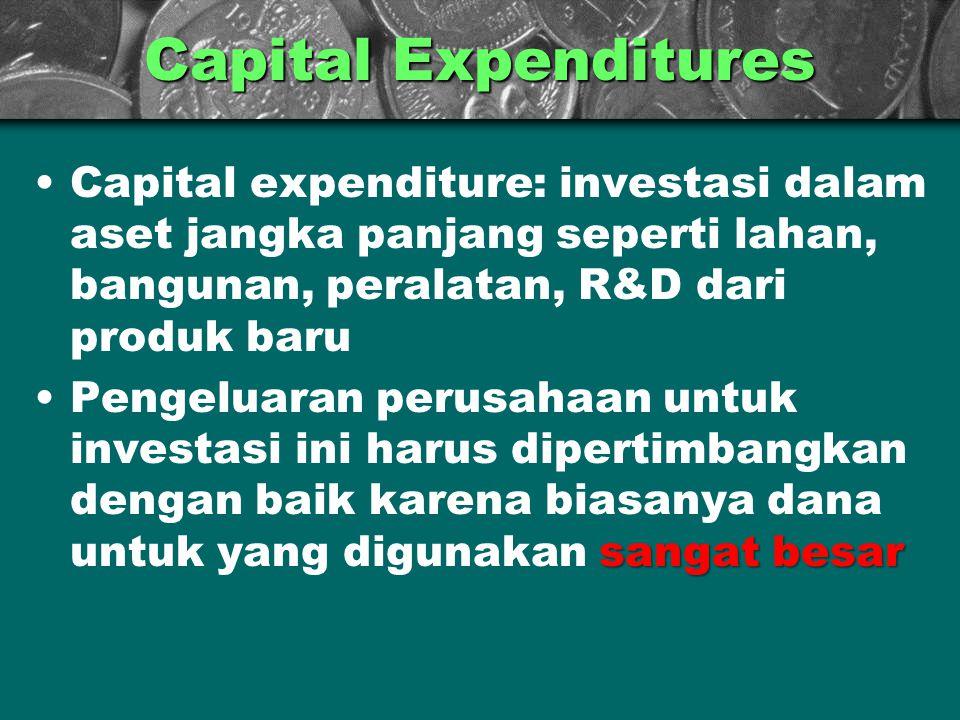 Capital Expenditures Capital expenditure: investasi dalam aset jangka panjang seperti lahan, bangunan, peralatan, R&D dari produk baru.
