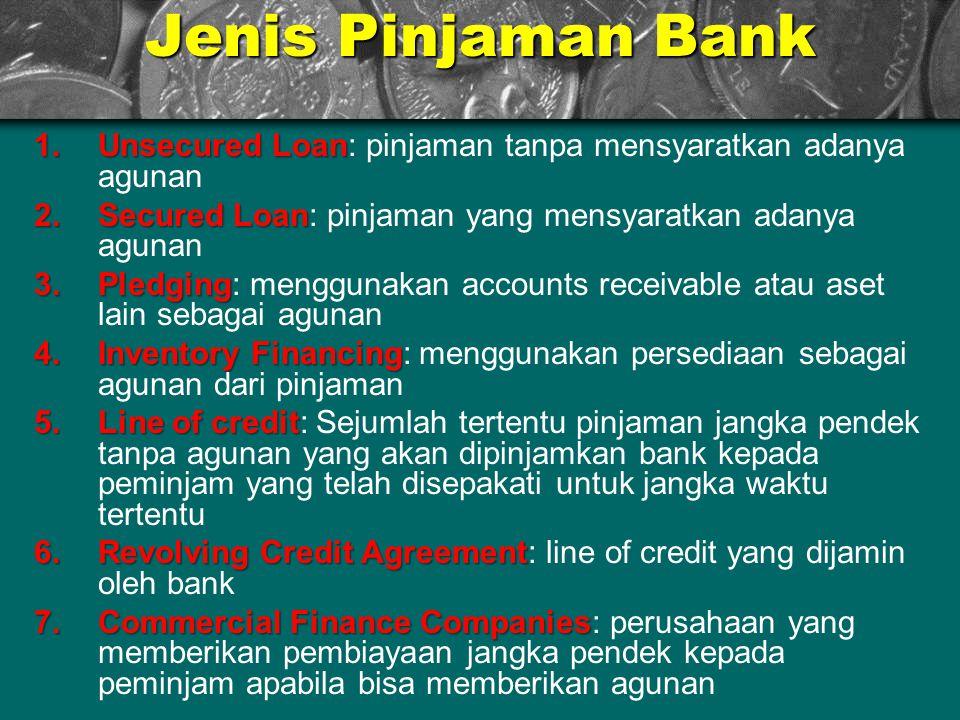Jenis Pinjaman Bank Unsecured Loan: pinjaman tanpa mensyaratkan adanya agunan. Secured Loan: pinjaman yang mensyaratkan adanya agunan.
