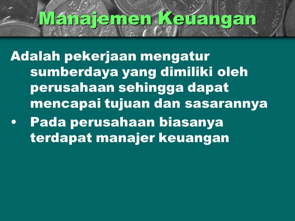Manajemen Keuangan Adalah pekerjaan mengatur sumberdaya yang dimiliki oleh perusahaan sehingga dapat mencapai tujuan dan sasarannya.