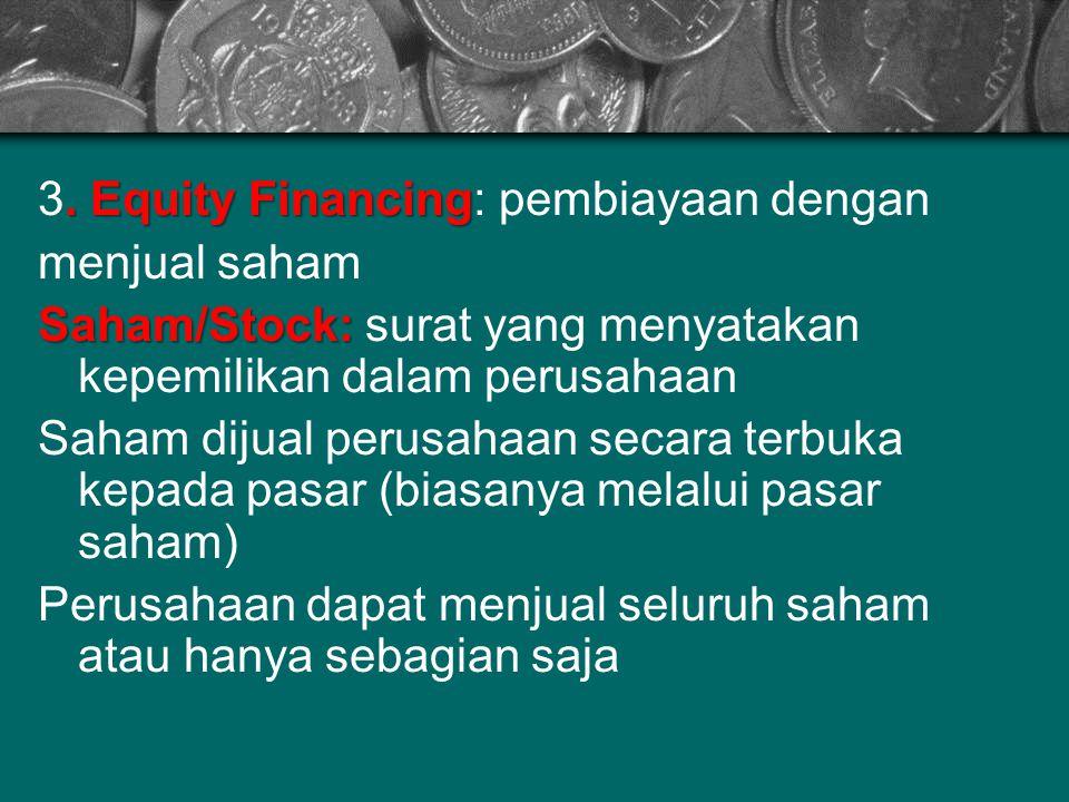 3. Equity Financing: pembiayaan dengan