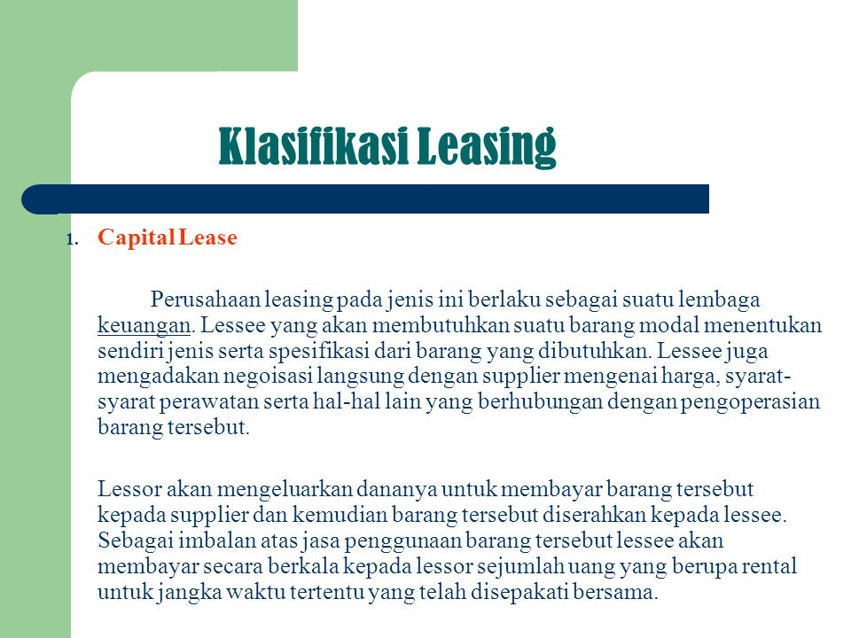 Klasifikasi Leasing Capital Lease