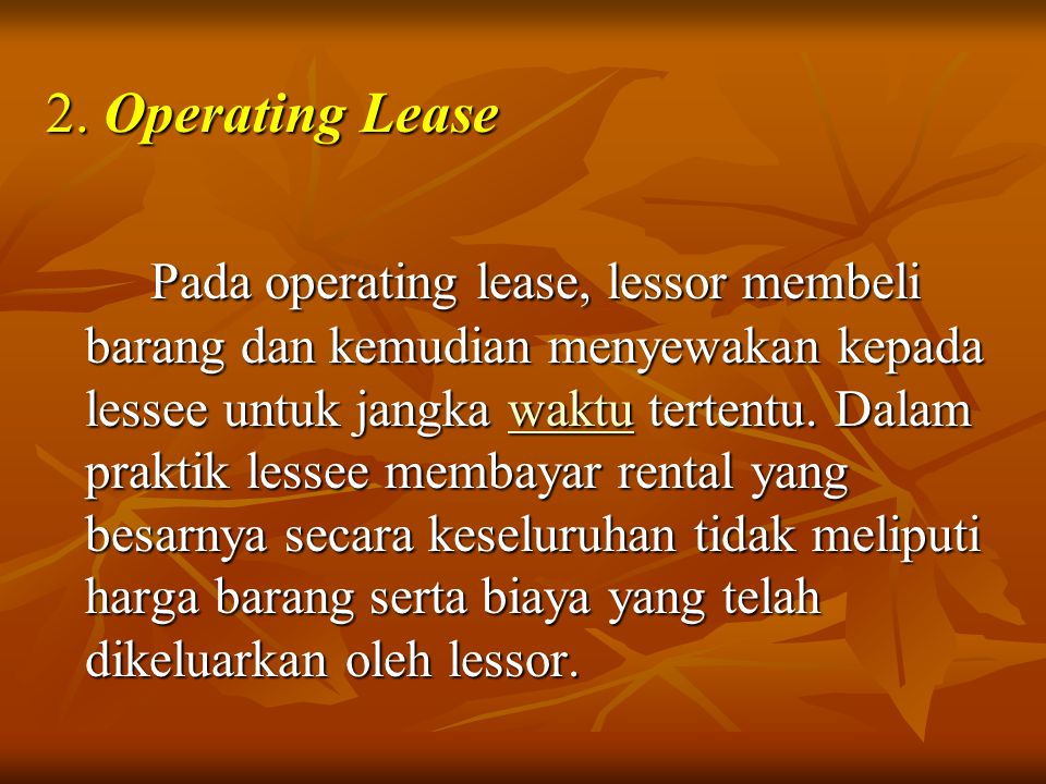 2. Operating Lease