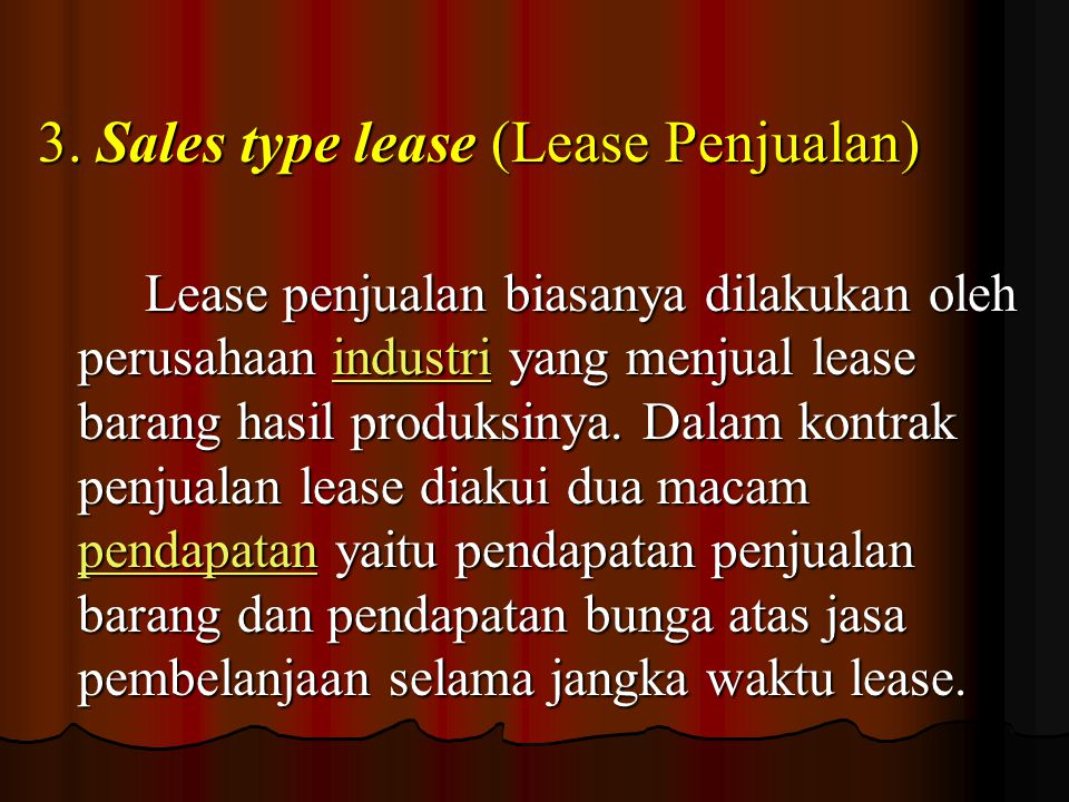 3. Sales type lease (Lease Penjualan)