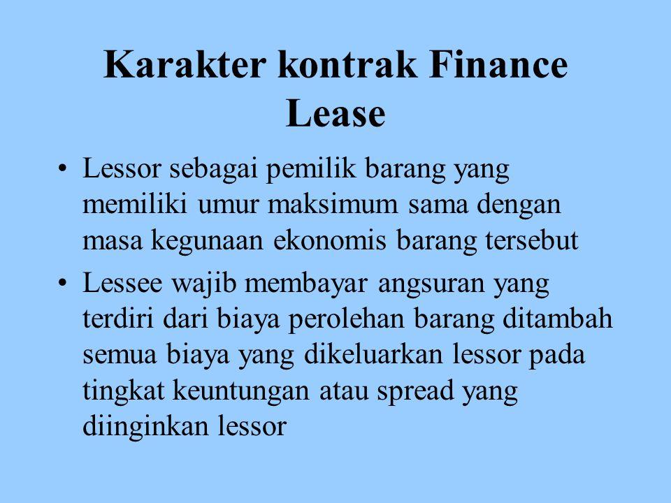 Karakter kontrak Finance Lease