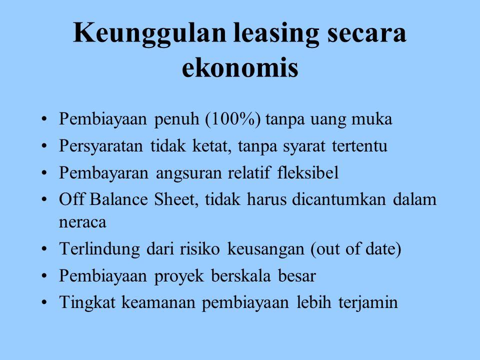 Keunggulan leasing secara ekonomis