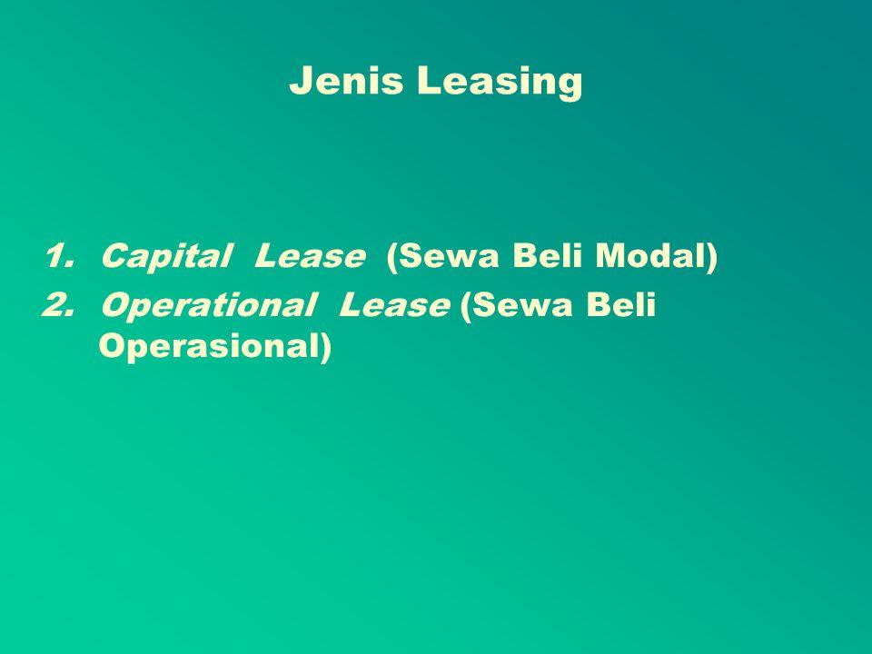 Jenis Leasing Capital Lease (Sewa Beli Modal)