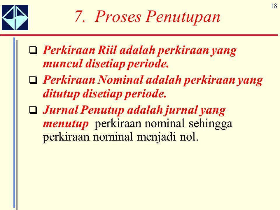 7. Proses Penutupan Perkiraan Riil adalah perkiraan yang muncul disetiap periode. Perkiraan Nominal adalah perkiraan yang ditutup disetiap periode.