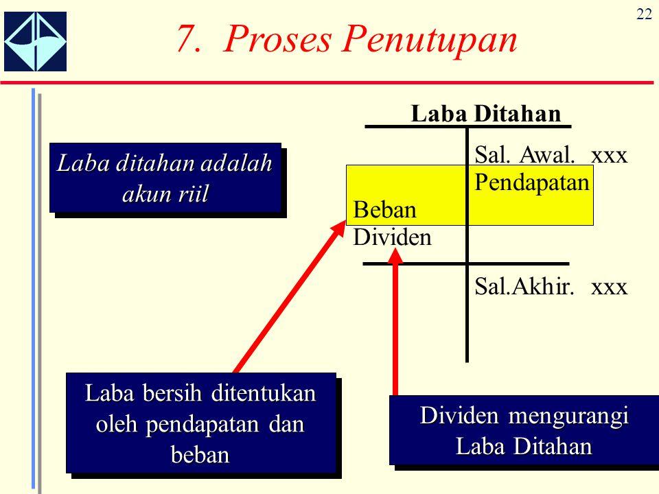 7. Proses Penutupan Laba Ditahan Laba ditahan adalah akun riil