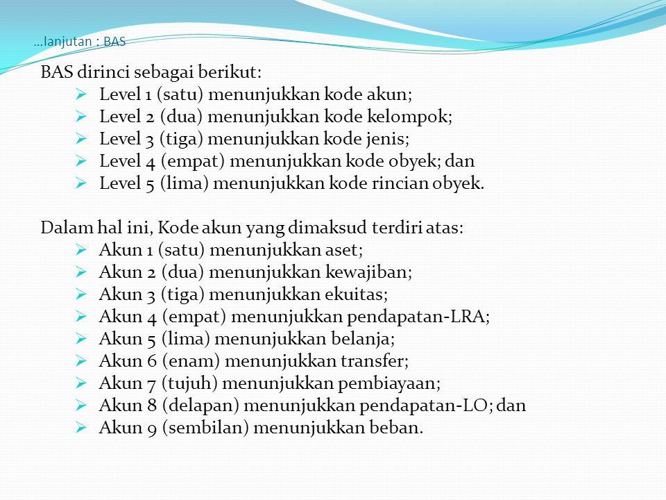 BAS dirinci sebagai berikut: Level 1 (satu) menunjukkan kode akun;