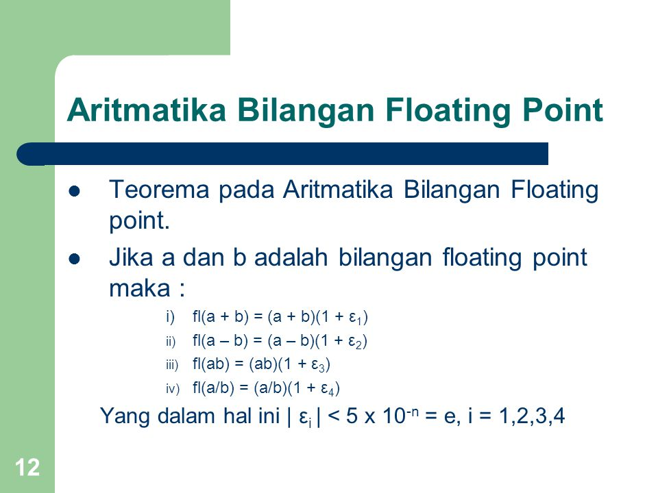 Aritmatika Bilangan Floating Point