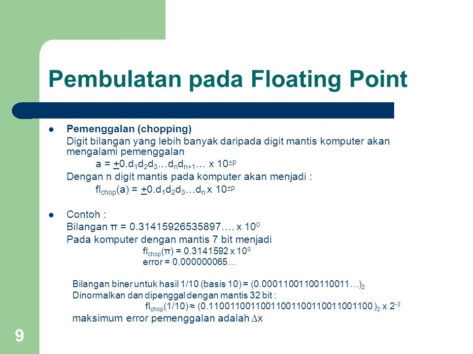 Pembulatan pada Floating Point