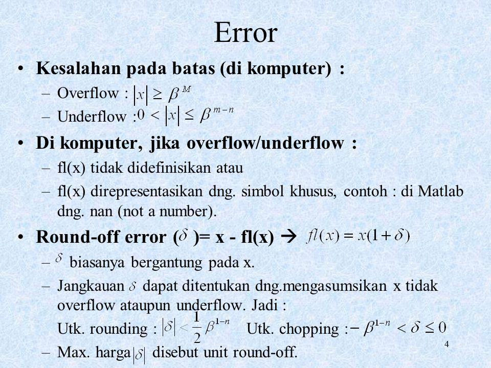 Error Kesalahan pada batas (di komputer) :