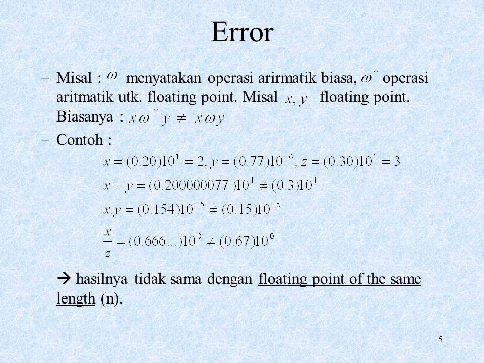 Error Misal : menyatakan operasi arirmatik biasa, operasi aritmatik utk. floating point. Misal floating point. Biasanya :