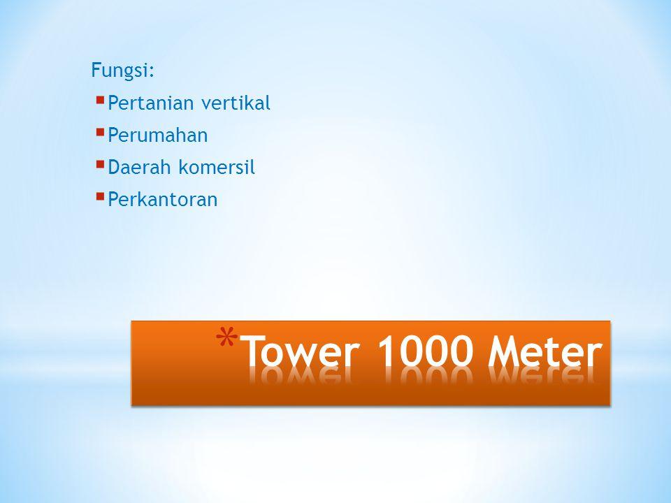 Tower 1000 Meter Fungsi: Pertanian vertikal Perumahan Daerah komersil