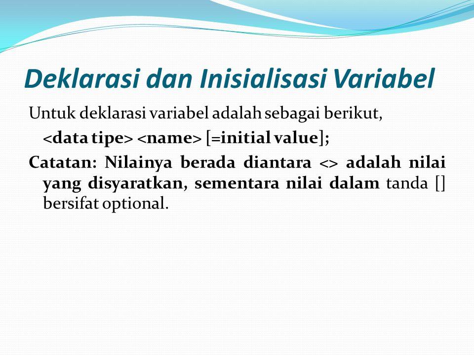 Deklarasi dan Inisialisasi Variabel