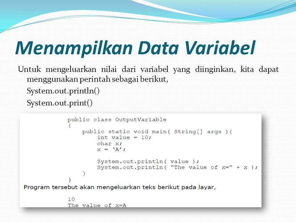 Menampilkan Data Variabel