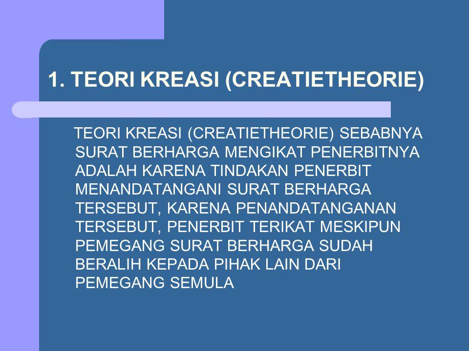 1. TEORI KREASI (CREATIETHEORIE)
