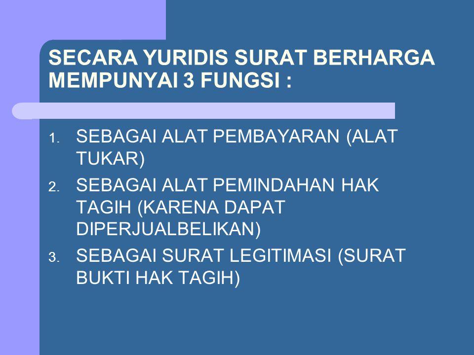 SECARA YURIDIS SURAT BERHARGA MEMPUNYAI 3 FUNGSI :