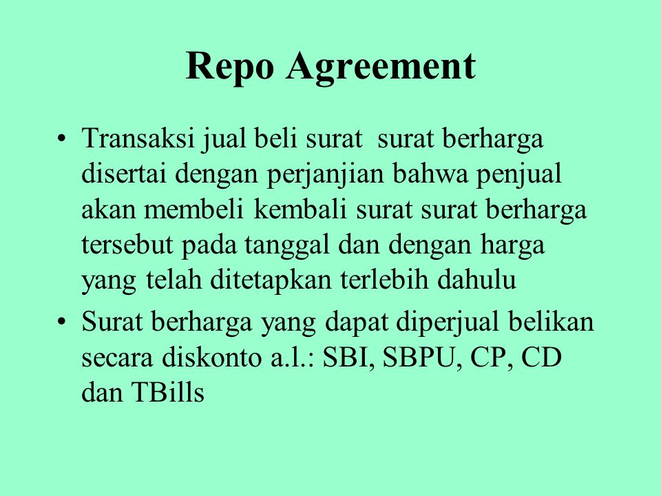Repo Agreement