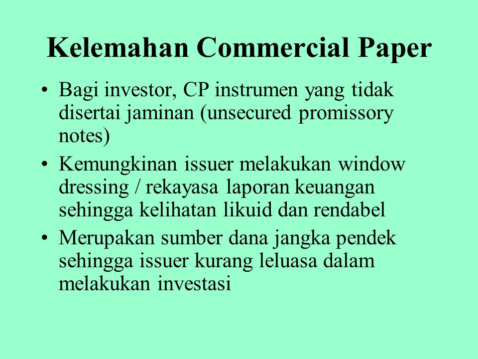 Kelemahan Commercial Paper