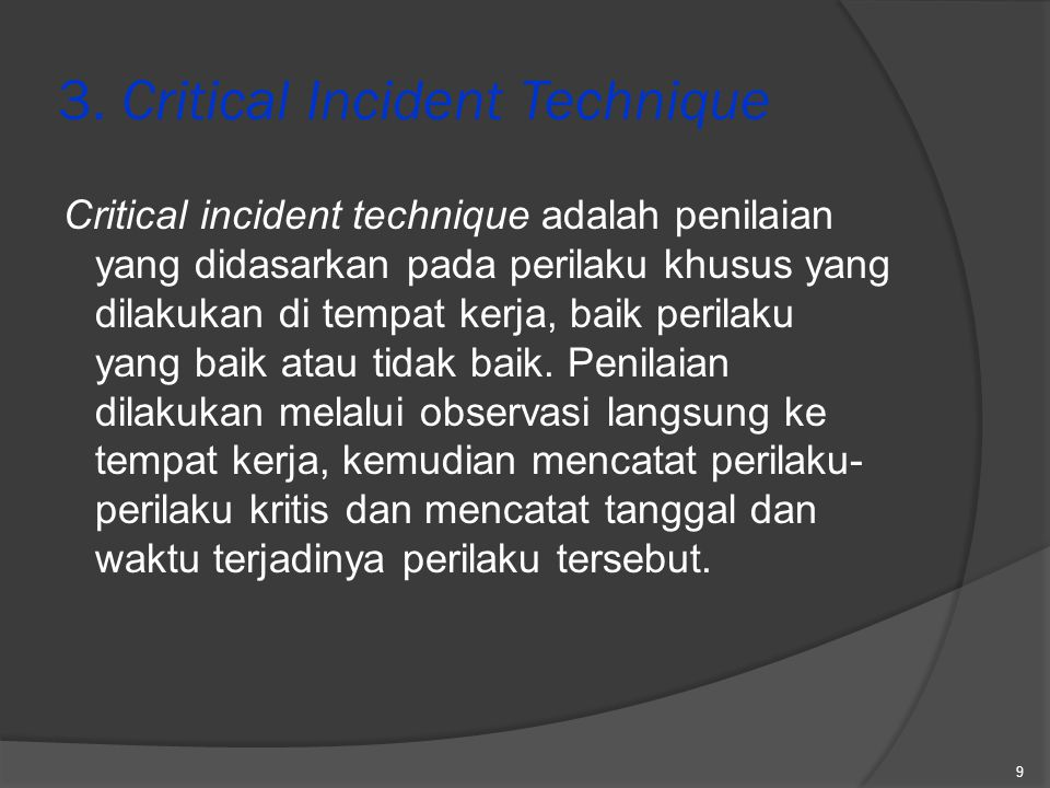 3. Critical Incident Technique