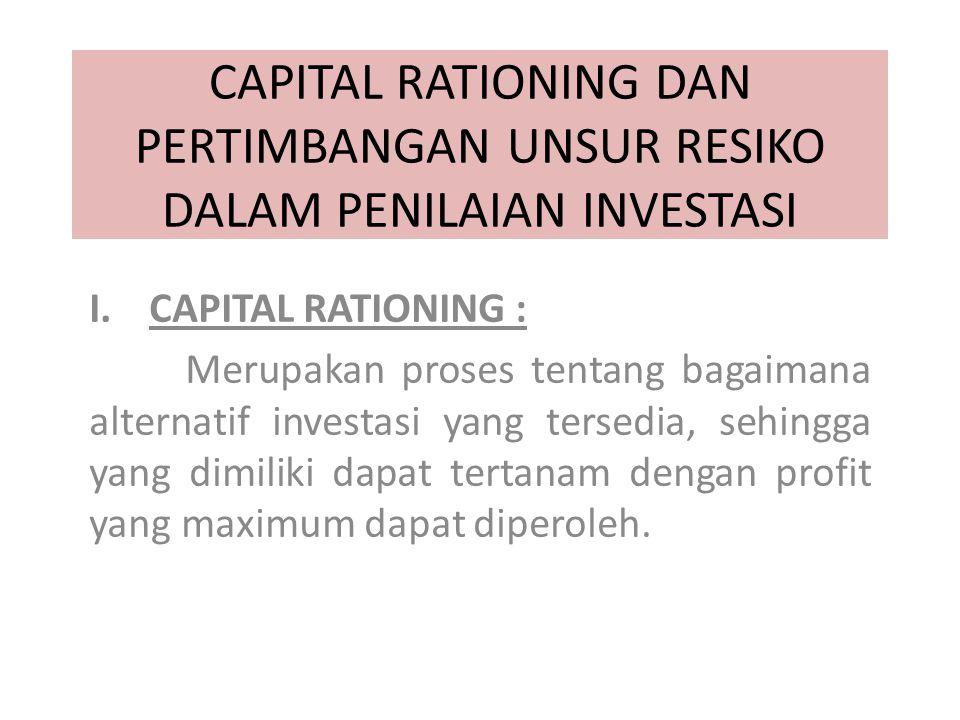 CAPITAL RATIONING DAN PERTIMBANGAN UNSUR RESIKO DALAM PENILAIAN INVESTASI