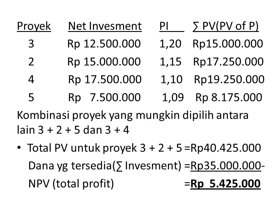 Proyek Net Invesment PI ∑ PV(PV of P)