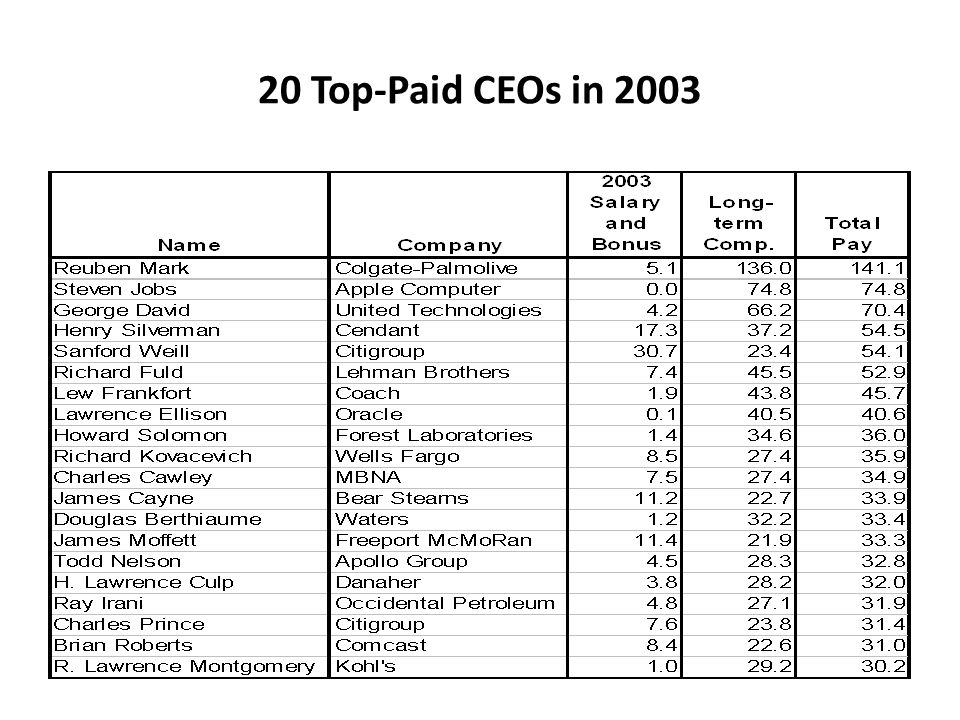 20 Top-Paid CEOs in 2003