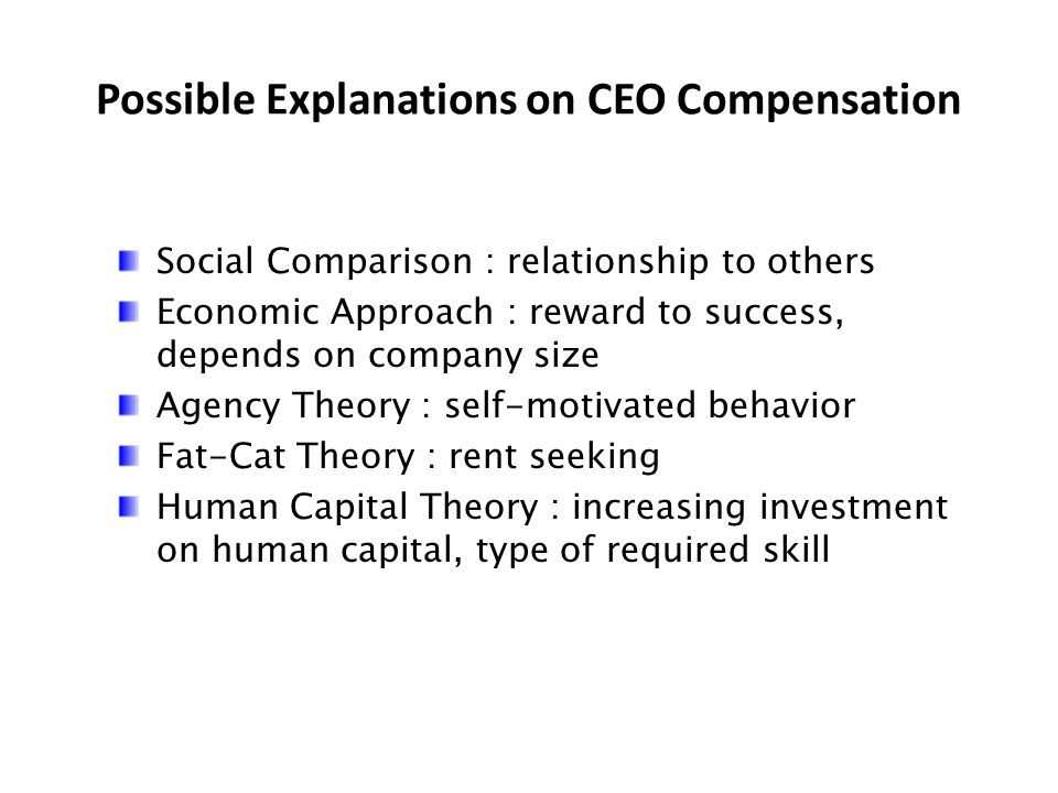 Possible Explanations on CEO Compensation