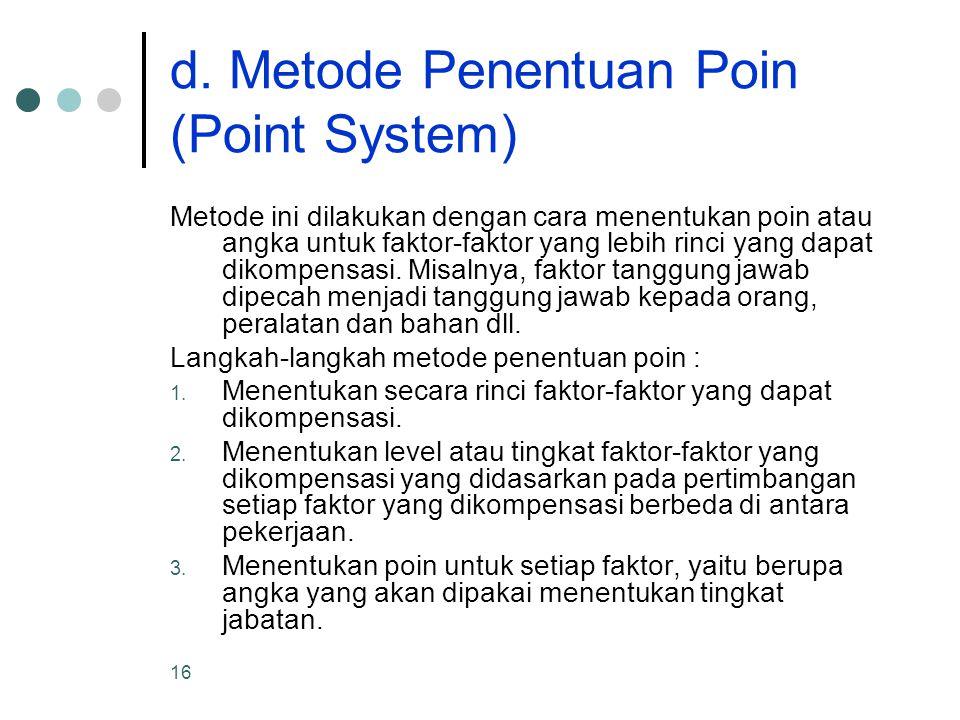 d. Metode Penentuan Poin (Point System)