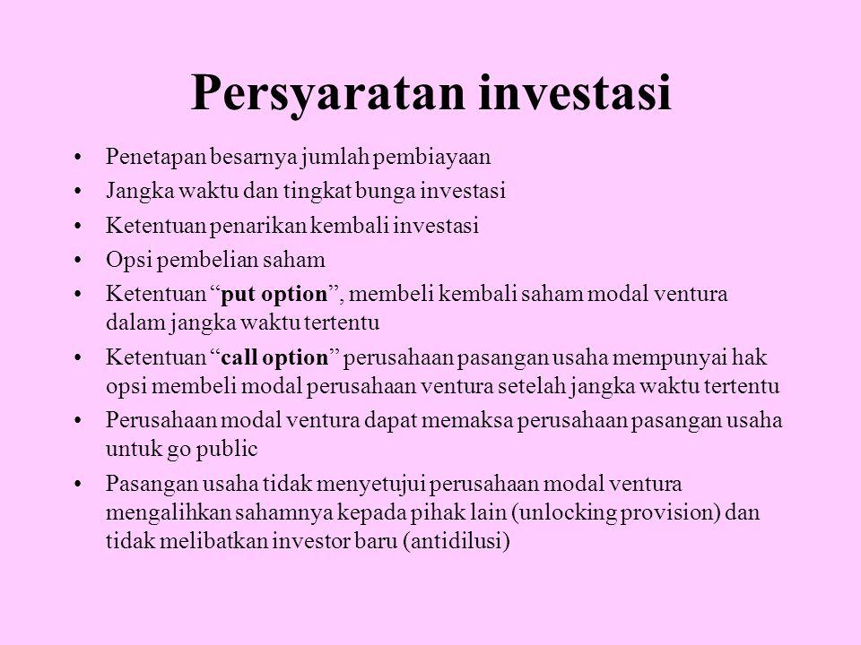 Persyaratan investasi