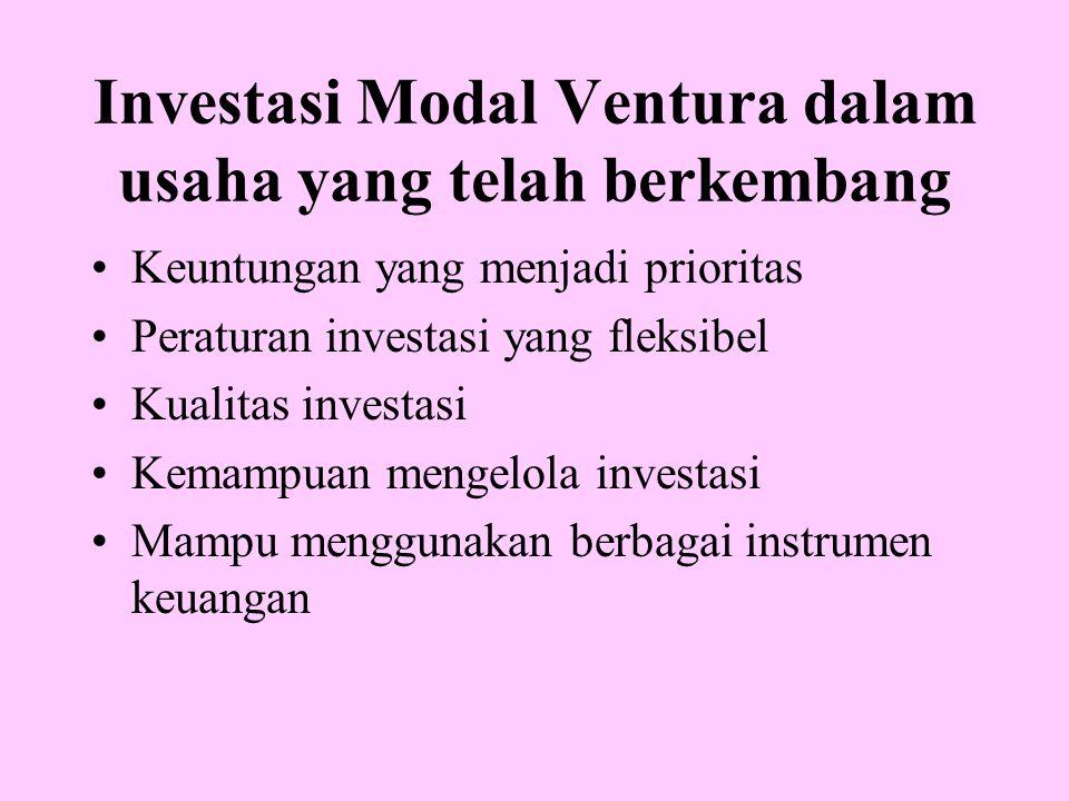 Investasi Modal Ventura dalam usaha yang telah berkembang