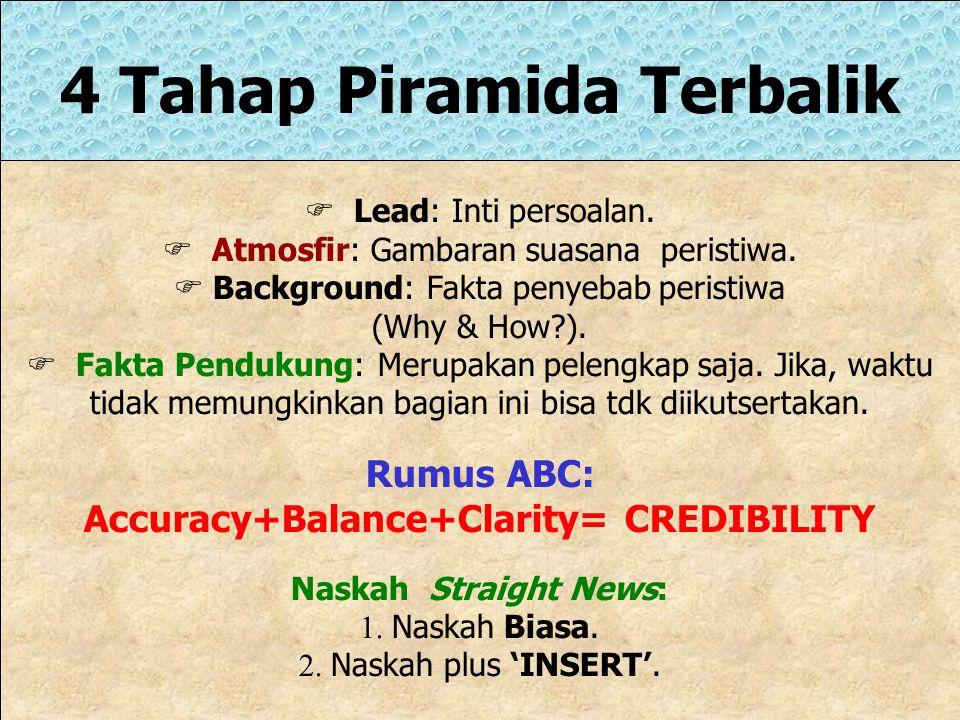 4 Tahap Piramida Terbalik Accuracy+Balance+Clarity= CREDIBILITY