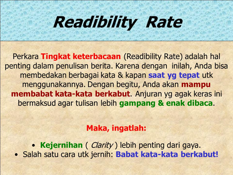 Readibility Rate